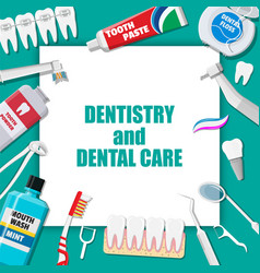Dental cleaning tools oral care hygiene products vector