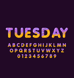 Donut cartoon tuesday biscuit bold font style vector