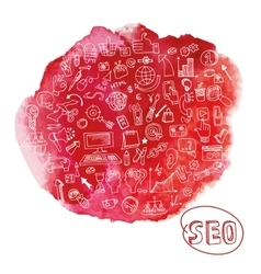 doodle seo concept with icons in watercolor red vector image
