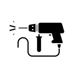 Drill process black icon concept vector