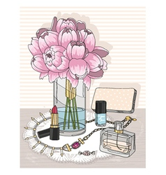 Fashion essentials and flowers vector