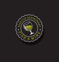 Fish and wine logo vector