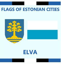 Flag of estonian city elva vector
