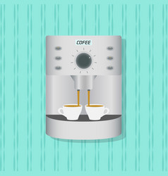 flat coffee maker kitchenware on the wall vector image