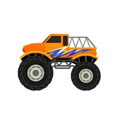 Flat icon of heavy monster truck orange vector
