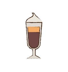 Glass cup coffee espresso cream vector