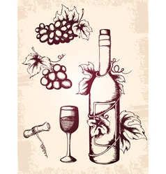 Hand drawn vintage wine icons vector