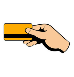 hand holding credit card icon cartoon vector image
