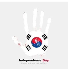 Handprint with Flag the Republic of Korea in vector