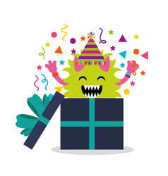 Happy birthday card with monster vector
