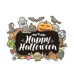 happy halloween banner or greeting card holiday vector image