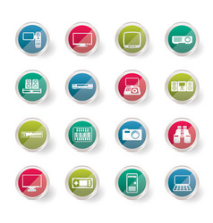 hi-tech equipment icons over colored background vector image