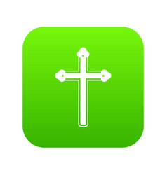 Holy cross icon digital green vector