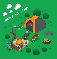 hunting camp isometric composition vector image