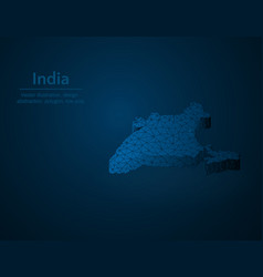 india map low poly south asian country polygonal vector image