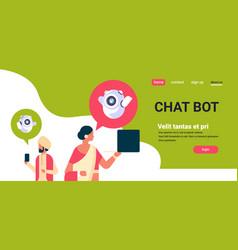 indian couple man woman chatbot robot vector image