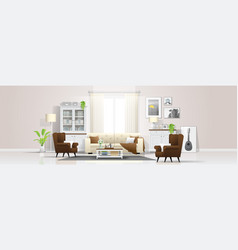 Interior background with bright living room vector