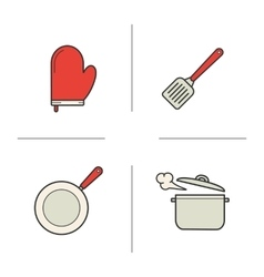 Kitchenware realistic color icons set vector