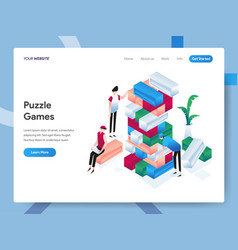 landing page template puzzle games isometric vector image