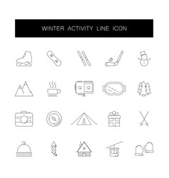 line icons set winter activity pack vector image