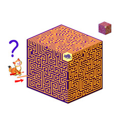 Logic puzzle game with 3d labyrinth for children vector