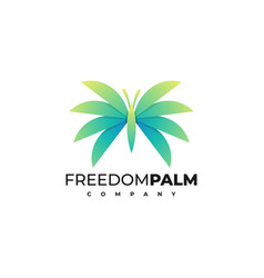 logo freedom palm gradient colorful style vector image