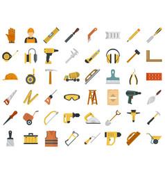 Masonry worker icon set flat style vector