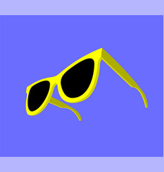 modern yellow sunglasses on blue background vector image