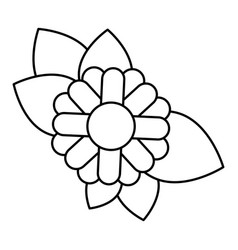 Monochrome contour of abstract sunflower with vector