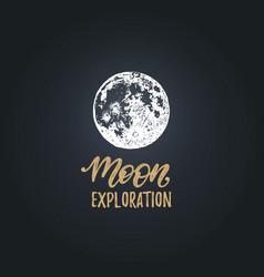 Moon exploration handwritten phrase drawn vector