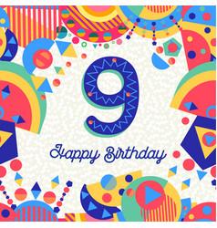 Nine 9 year birthday party greeting card number vector