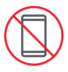 no phone line icon prohibition and forbidden vector image
