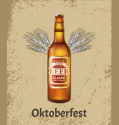 oktoberfest poster with realistic bottle beer vector image