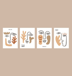 One line drawing women faces tags collection vector