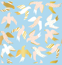 pattern flying birds with faux gold foil vector image