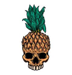 Pineapple skull design element for logo label vector