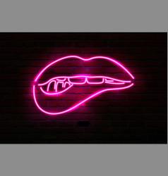 pink neon luminous lips on brick wall vector image