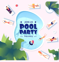 pool party summer swimming event flyer water vector image