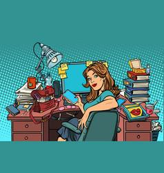 Pop art businesswoman in the workplace vector