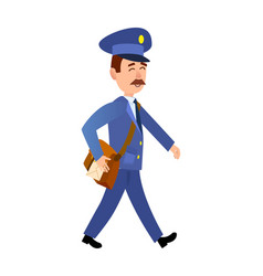 postman delivering mail isolated cartoon vector image