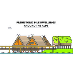 Prehistoric pile dwellings - around the alps lin vector