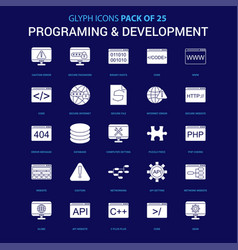 Programming and developement white icon over blue vector