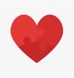 red pieces puzzle heart valentine day symbol vector image