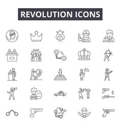 Revolution line icons signs set outline vector