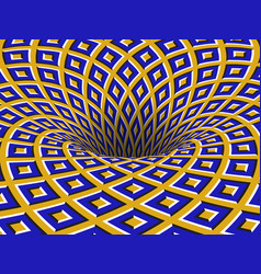 Rotating hole moving blue yellow squares vector