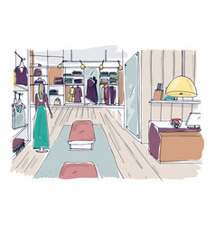 Rough sketch of clothing showroom interior with vector