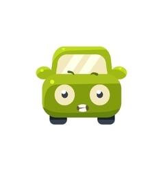 Scared Green Car Emoji vector image