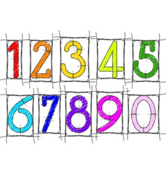 scribble numbers vector image vector image