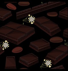 seamless background with piece of black chocolate vector image