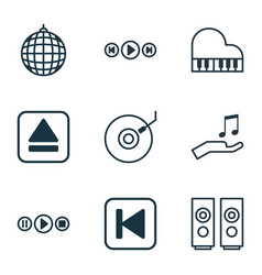 Set of 9 multimedia icons includes extract device vector